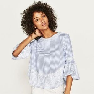 Zara Striped Blouse with Lace Detail - XL